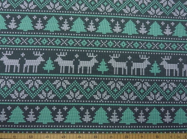 French Terry  Knit Norway Hirsch mint